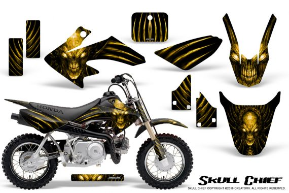Honda CRF50 CreatorX Graphics Kit Skull Chief Yellow 570x380 - Honda CRF50 2004-2015 Graphics