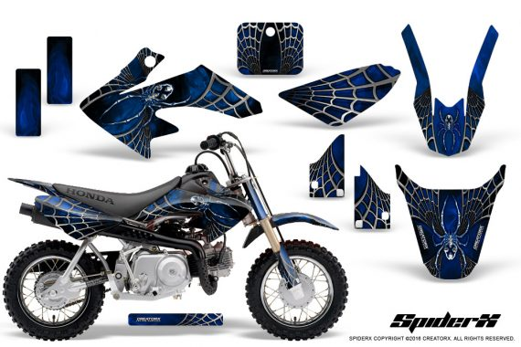 Honda CRF50 CreatorX Graphics Kit SpiderX Blue 570x380 - Honda CRF50 2004-2015 Graphics