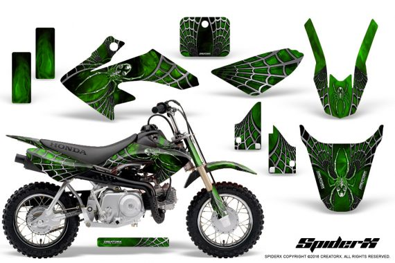 Honda CRF50 CreatorX Graphics Kit SpiderX Green 570x380 - Honda CRF50 2004-2015 Graphics