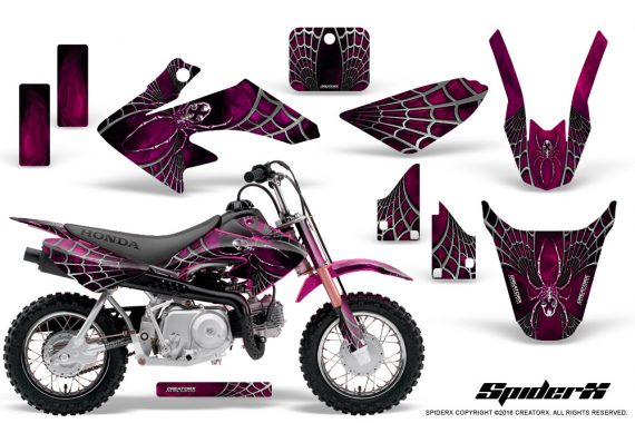 Honda CRF50 CreatorX Graphics Kit SpiderX Pink 570x380 - Honda CRF50 2004-2015 Graphics