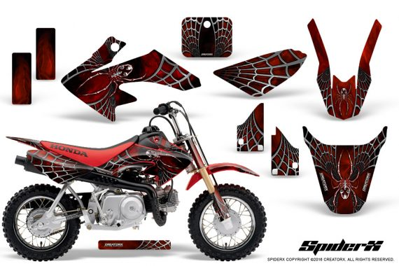 Honda CRF50 CreatorX Graphics Kit SpiderX Red 570x380 - Honda CRF50 2004-2015 Graphics