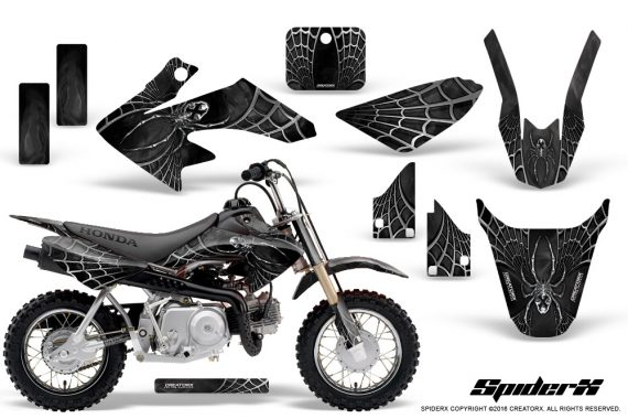 Honda CRF50 CreatorX Graphics Kit SpiderX Silver 570x380 - Honda CRF50 2004-2015 Graphics