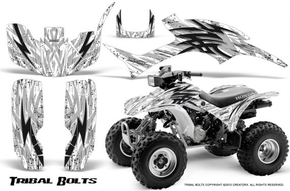 Honda TRX300 1993 2006 CreatorX Graphics Kit Tribal Bolts Black White 570x376 - Honda TRX 300EX 1993-2006 Graphics