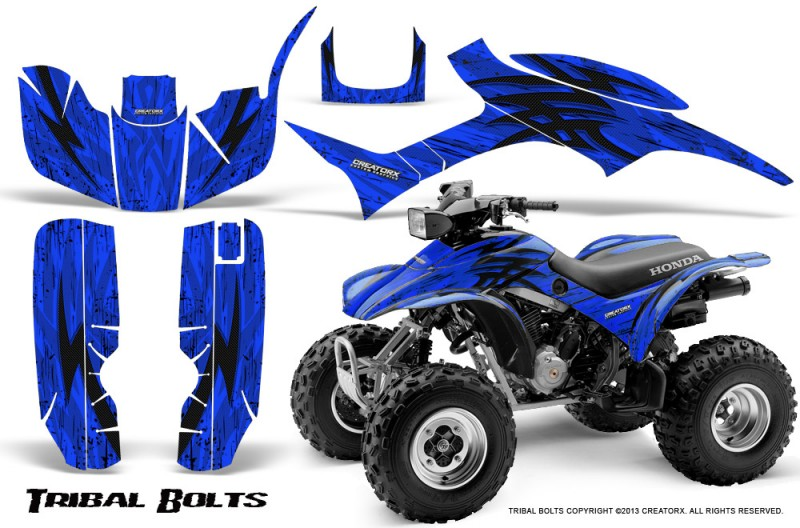 Honda-TRX300-1993-2006-CreatorX-Graphics-Kit-Tribal-Bolts-Blue