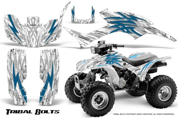 Honda TRX300 1993 2006 CreatorX Graphics Kit Tribal Bolts BlueIce White 570x376 - Honda TRX 300EX 1993-2006 Graphics