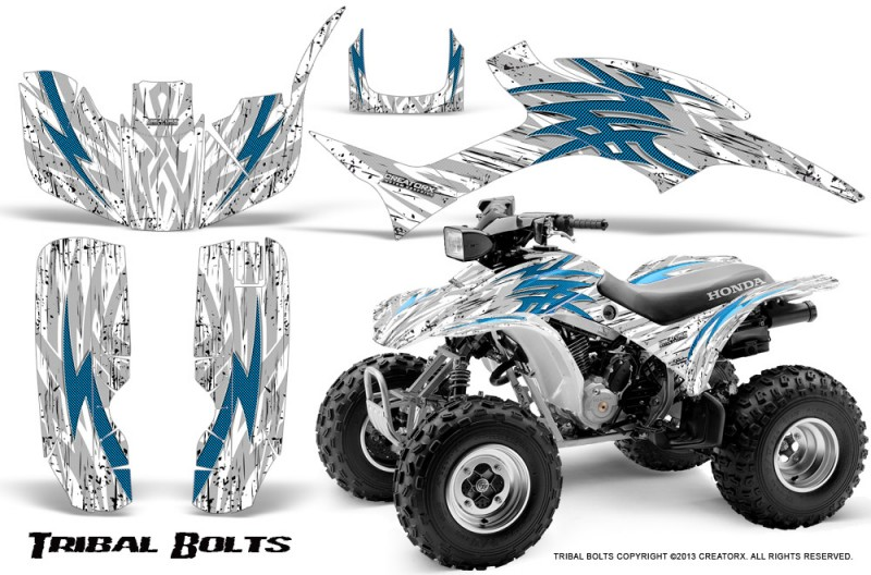 Honda-TRX300-1993-2006-CreatorX-Graphics-Kit-Tribal-Bolts-BlueIce-White