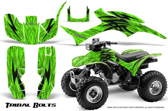 Honda TRX300 1993 2006 CreatorX Graphics Kit Tribal Bolts Green 570x376 - Honda TRX 300EX 1993-2006 Graphics