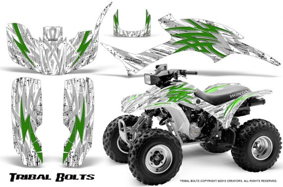 Honda TRX300 1993 2006 CreatorX Graphics Kit Tribal Bolts Green White 570x376 - Honda TRX 300EX 1993-2006 Graphics