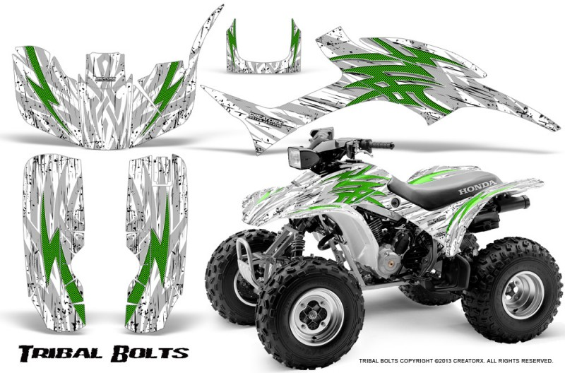 Honda-TRX300-1993-2006-CreatorX-Graphics-Kit-Tribal-Bolts-Green-White