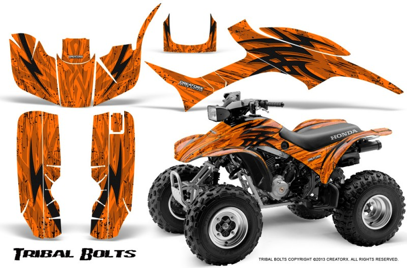 Honda-TRX300-1993-2006-CreatorX-Graphics-Kit-Tribal-Bolts-Orange