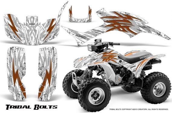 Honda TRX300 1993 2006 CreatorX Graphics Kit Tribal Bolts Orange White 570x376 - Honda TRX 300EX 1993-2006 Graphics