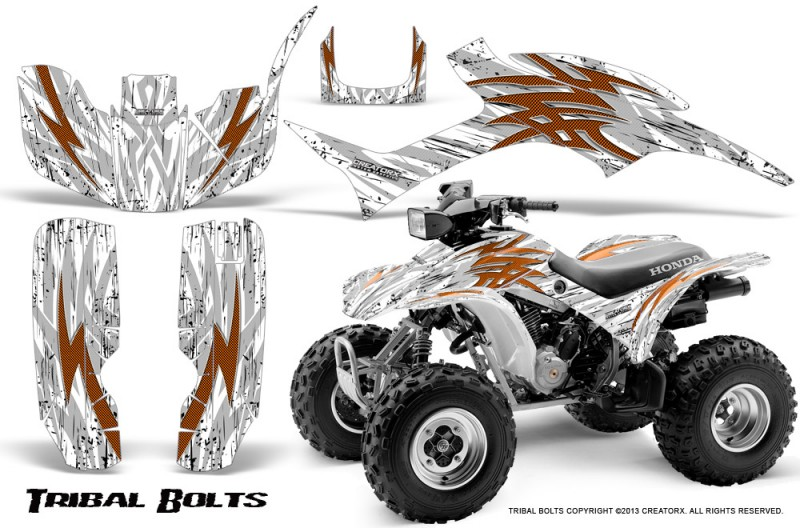 Honda-TRX300-1993-2006-CreatorX-Graphics-Kit-Tribal-Bolts-Orange-White