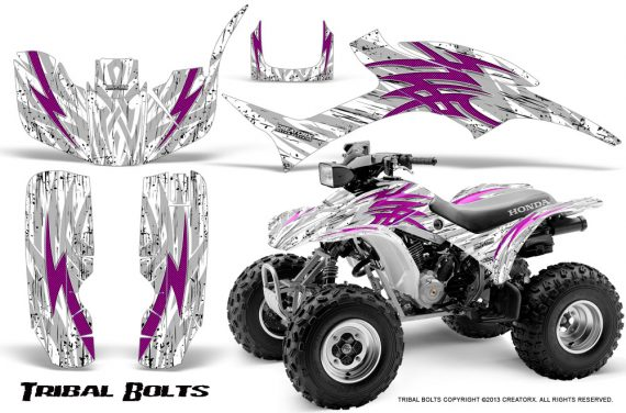 Honda TRX300 1993 2006 CreatorX Graphics Kit Tribal Bolts Pink White 570x376 - Honda TRX 300EX 1993-2006 Graphics