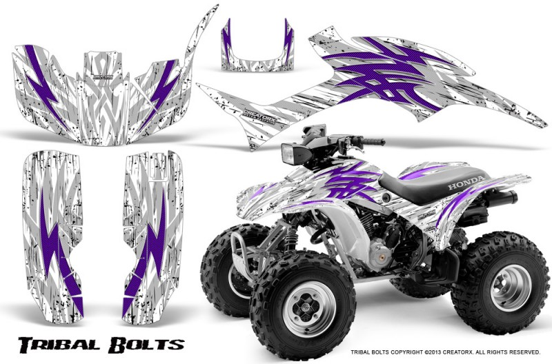 Honda-TRX300-1993-2006-CreatorX-Graphics-Kit-Tribal-Bolts-Purple-White