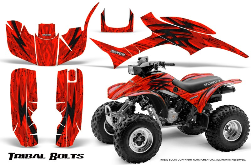 Honda-TRX300-1993-2006-CreatorX-Graphics-Kit-Tribal-Bolts-Red-BB