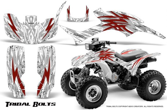 Honda TRX300 1993 2006 CreatorX Graphics Kit Tribal Bolts Red White 570x376 - Honda TRX 300EX 1993-2006 Graphics