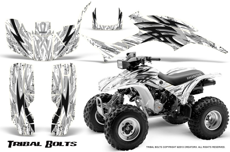Honda-TRX300-1993-2006-CreatorX-Graphics-Kit-Tribal-Bolts-White