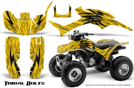 Honda TRX300 1993 2006 CreatorX Graphics Kit Tribal Bolts Yellow BB 570x376 - Honda TRX 300EX 1993-2006 Graphics