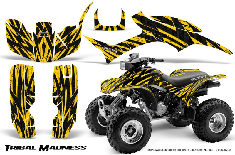 Honda-TRX300-1993-2006-CreatorX-Graphics-Kit-Tribal-Madness-Yellow-BB