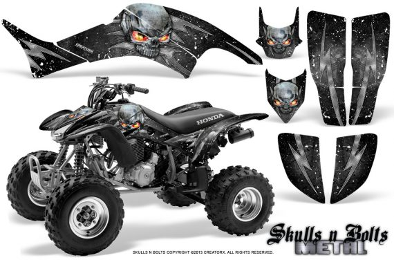 Honda TRX400EX 99 07 CreatorX Graphics Kit Skulls n Bolts Metal White 570x376 - Honda TRX 400EX 1999-2007 Graphics
