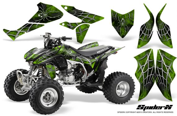 Honda TRX450R 04 12 CreatorX Graphics Kit SpiderX Green 570x376 - Honda TRX 450R 2004-2016 Graphics