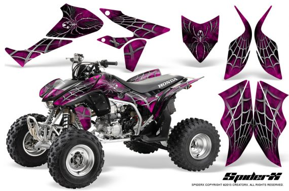 Honda TRX450R 04 12 CreatorX Graphics Kit SpiderX Pink 570x376 - Honda TRX 450R 2004-2016 Graphics