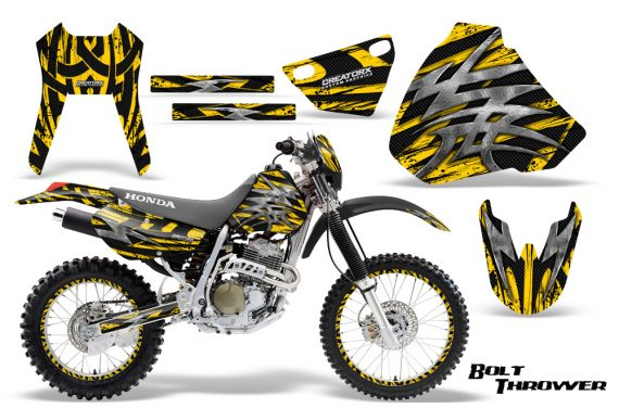 Honda XR 400 CreatorX Graphics Kit Bolt Thrower Yellow NP Rims 570x376 - Honda XR400 1996-2004 Graphics