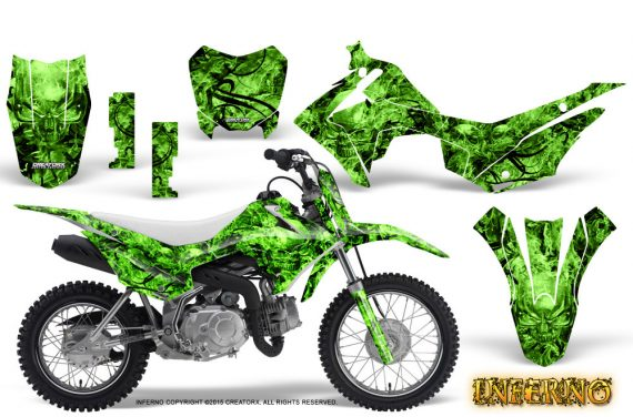 Honda CRF110F CreatorX Graphics Kit Inferno Green 570x376 - Honda CRF 110F 2013-2018 Graphics