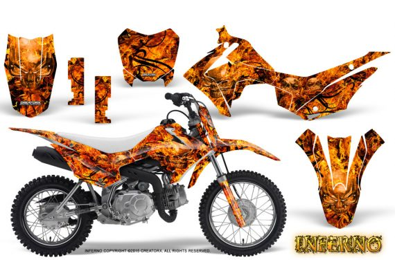 Honda CRF110F CreatorX Graphics Kit Inferno Orange 570x376 - Honda CRF 110F 2013-2018 Graphics