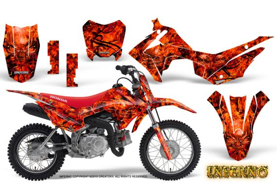 Honda CRF110F CreatorX Graphics Kit Inferno Red 570x376 - Honda CRF 110F 2013-2018 Graphics