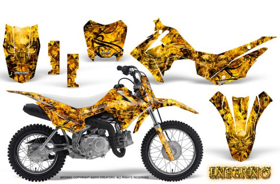 Honda CRF110F CreatorX Graphics Kit Inferno Yellow 570x376 - Honda CRF 110F 2013-2018 Graphics