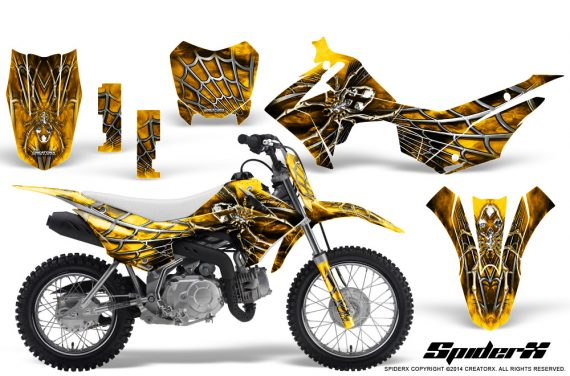 Honda CRF110F CreatorX Graphics Kit SpiderX Yellow 570x376 - Honda CRF 110F 2013-2018 Graphics