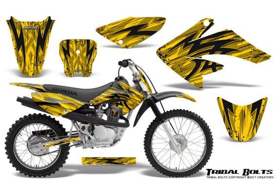 Honda CRF 70 80 100 Graphics Kit Tribal Bolts Yellow 570x376 - Honda CRF70 2004-2015 Graphics