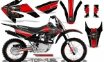Honda CRF 80 100 2011 2012 CreatorX Graphics Kit Top Fuel Red Black NP Rims 150x90 - Honda CRF80 CRF100 2011-2015 Graphics