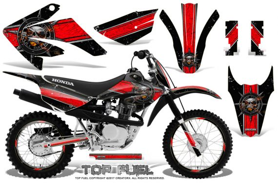 Honda CRF 80 100 2011 2012 CreatorX Graphics Kit Top Fuel Red Black NP Rims 570x376 - Honda CRF80 CRF100 2011-2015 Graphics