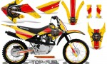 Honda CRF 80 100 2011 2012 CreatorX Graphics Kit Top Fuel Red Yellow NP Rims 150x90 - Honda CRF80 CRF100 2011-2015 Graphics
