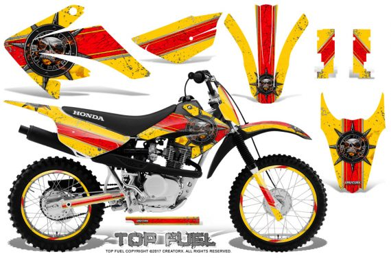 Honda CRF 80 100 2011 2012 CreatorX Graphics Kit Top Fuel Red Yellow NP Rims 570x376 - Honda CRF80 CRF100 2011-2015 Graphics