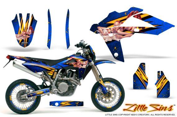 Husqvarna SMR 05 07 CreatorX Graphics Kit Little Sins Blue NP Rims 570x376 - Husqvarna SM-SMR122-530 05-10 TC-TE250 05-13 TC-TE450 05-10 Graphics