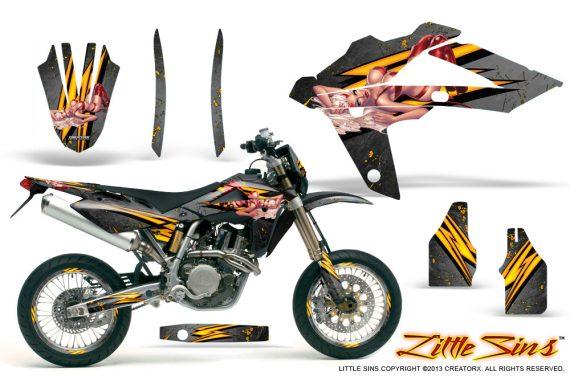 Husqvarna SMR 05 07 CreatorX Graphics Kit Little Sins Silver NP Rims 570x376 - Husqvarna SM-SMR122-530 05-10 TC-TE250 05-13 TC-TE450 05-10 Graphics