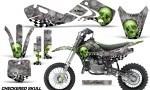 KAWASAKI KLX110 KX65 Graphic Kit Checkered Skull 150x90 - Kawasaki KX65 2002-2017 Graphics