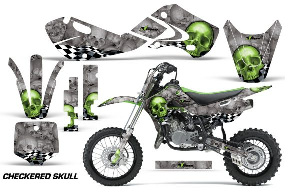 KAWASAKI KLX110 KX65 Graphic Kit Checkered Skull 570x376 - Kawasaki KX65 2002-2017 Graphics