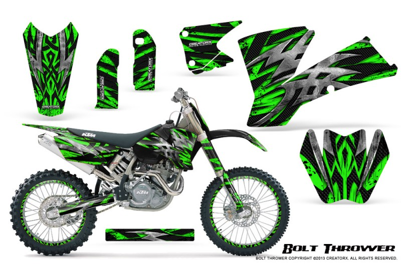 KTM-C1-SX-EXC-MXC-CreatorX-Graphics-Kit-Bolt-Thrower-Green-NP-Rims