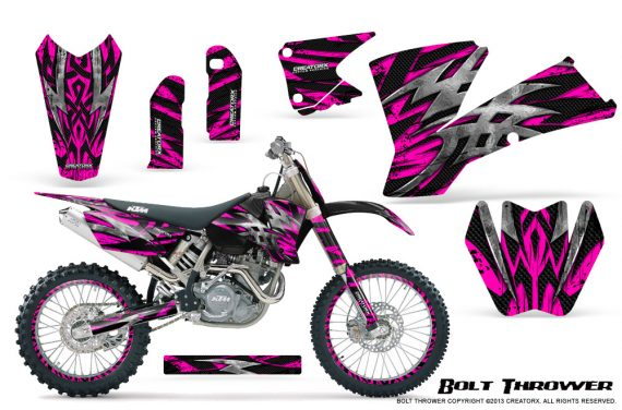 KTM C1 SX EXC MXC CreatorX Graphics Kit Bolt Thrower Pink NP Rims 570x376 - KTM C1 SX 2001-2004 EXC 2003-2004 Graphics