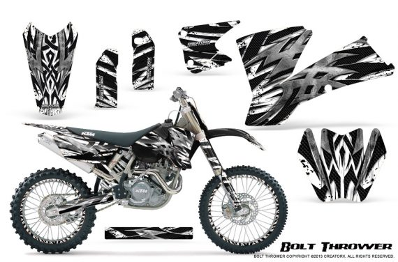 KTM C1 SX EXC MXC CreatorX Graphics Kit Bolt Thrower White NP Rims 570x376 - KTM C1 SX 2001-2004 EXC 2003-2004 Graphics