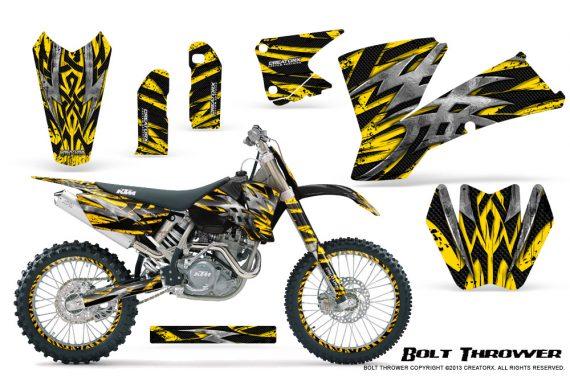 KTM C1 SX EXC MXC CreatorX Graphics Kit Bolt Thrower Yellow NP Rims 570x376 - KTM C1 SX 2001-2004 EXC 2003-2004 Graphics