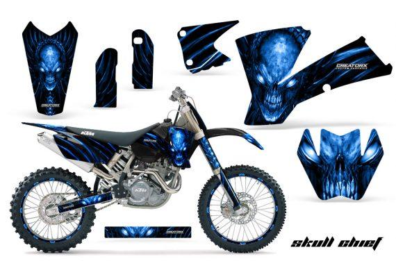 KTM C1 SX EXC MXC CreatorX Graphics Kit Skull Chief Blue BB NPs Rims 570x376 - KTM C1 SX 2001-2004 EXC 2003-2004 Graphics