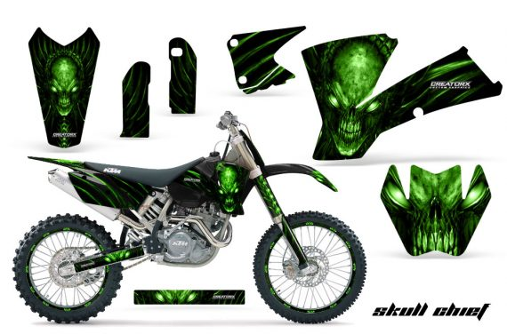 KTM C1 SX EXC MXC CreatorX Graphics Kit Skull Chief Green BB NPs Rims 570x376 - KTM C1 SX 2001-2004 EXC 2003-2004 Graphics