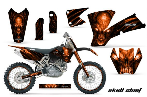 KTM C1 SX EXC MXC CreatorX Graphics Kit Skull Chief Orange BB NPs Rims 570x376 - KTM C1 SX 2001-2004 EXC 2003-2004 Graphics