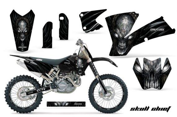 KTM C1 SX EXC MXC CreatorX Graphics Kit Skull Chief Silver BB NPs Rims 570x376 - KTM C1 SX 2001-2004 EXC 2003-2004 Graphics