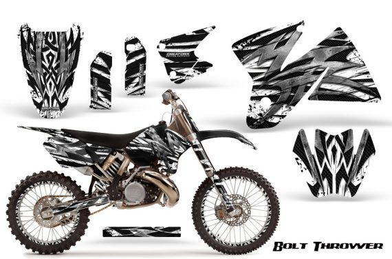 KTM C2 CreatorX Graphics Kit Bolt Thrower White NP Rims 570x376 - KTM C2 SX 1998-2000 125-520 EXC Graphics